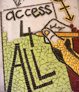 """a detail from a mosaic with words reading """"Access for All"""""""