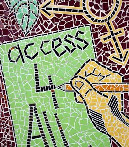 "a mosaic artwork with the words ""access 4 all"""
