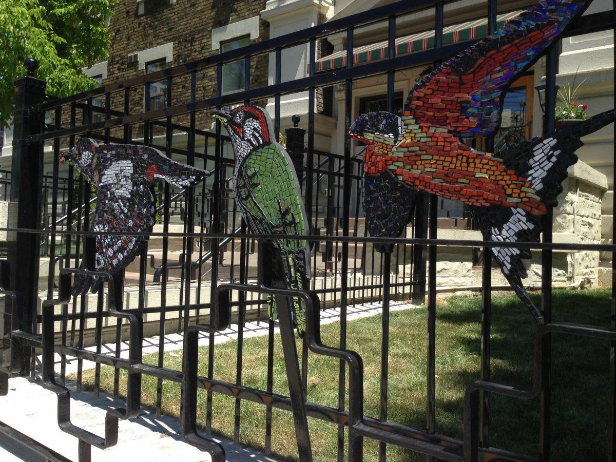Bird mosaics on outside fence