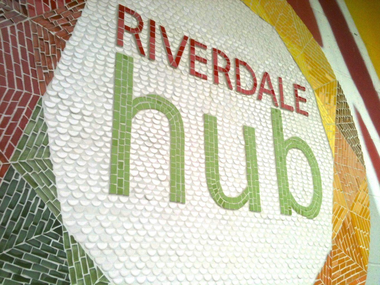 Closeup of tile mosaic sign