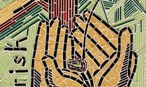 mosaic picture of hands holding a seedling