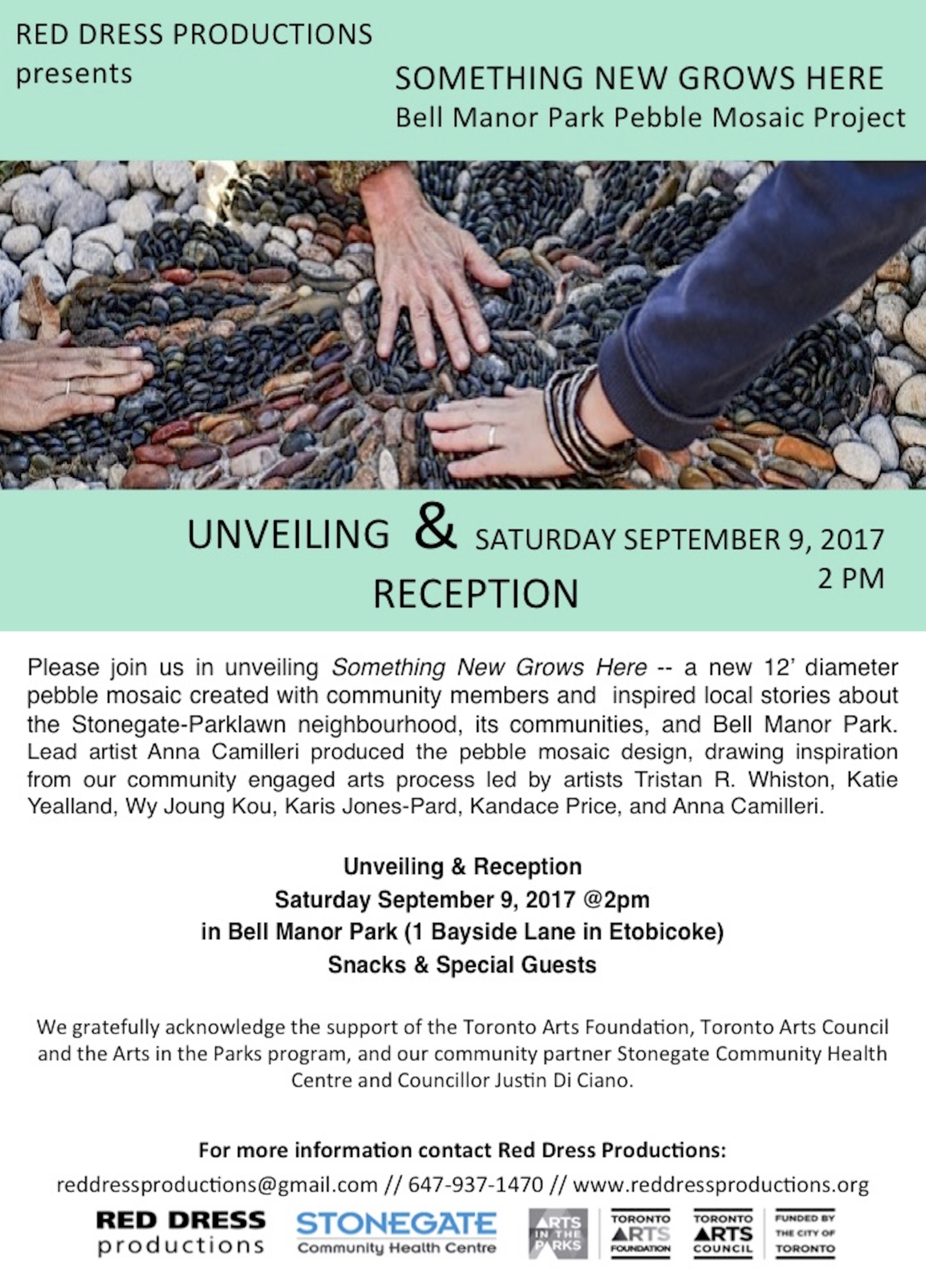 "This is a postcard invitation: The card has an image of three hands placed on a pebble mosaic in the ground. The words ""Red Dress Productions presents Something New Grows Here, The Bell Manor Park Pebble Mosaic Project"" are along the top of the image. At the bottom of the image are the words: Unveiling and Reception, Saturday September 9, 2017 at 2 pm"