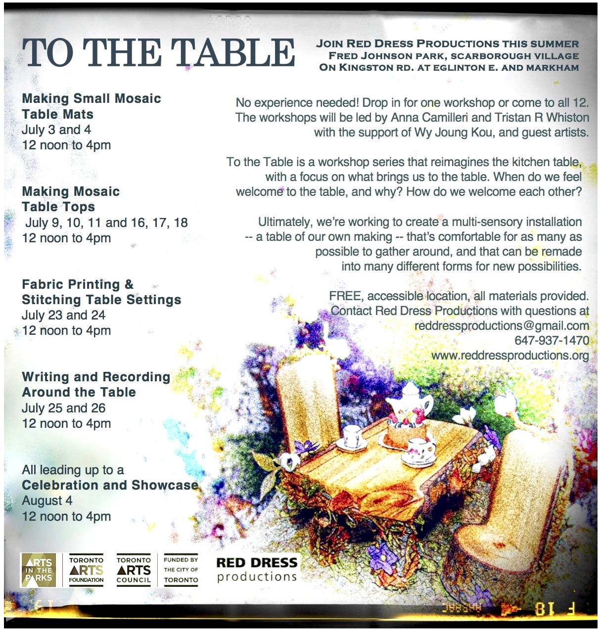 A flyer with the title To the Table and a lot of text (see in the page for the text) There is an image in the lower right hand corner of a wooden table and chairs.