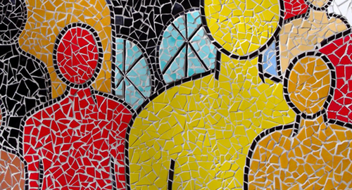 Colourful tiled mosaics.