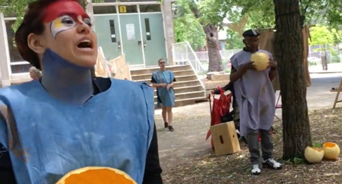 Woman sings at Drift Seeds performance