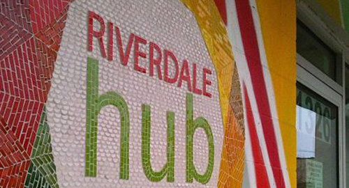 Riverdale Hub sign
