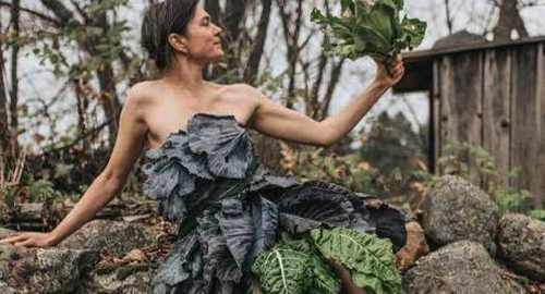 Megan Spencer in her dress made of cabbage