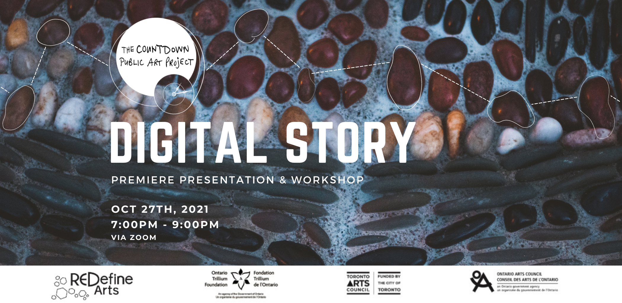 """Graphic poster featuring a close-up photo of a pebble mosaic as the background image. Text reads """"Digital Story: Premiere Presentation & Workshop. Oct 27th, 2021. 7:00pm - 9:00pm via Zoom"""""""