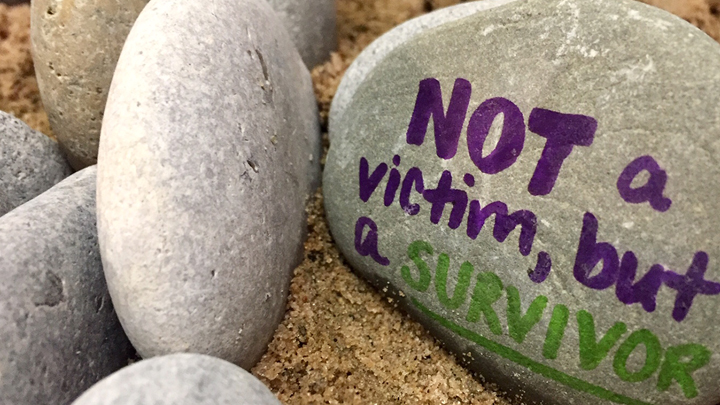 Not a victim, but a survivor written on stone used in Countdown mosaic