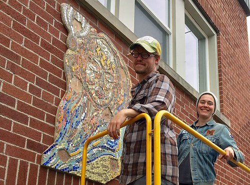 Andy Trull and Megan Spencer mount Pembroke mosaic