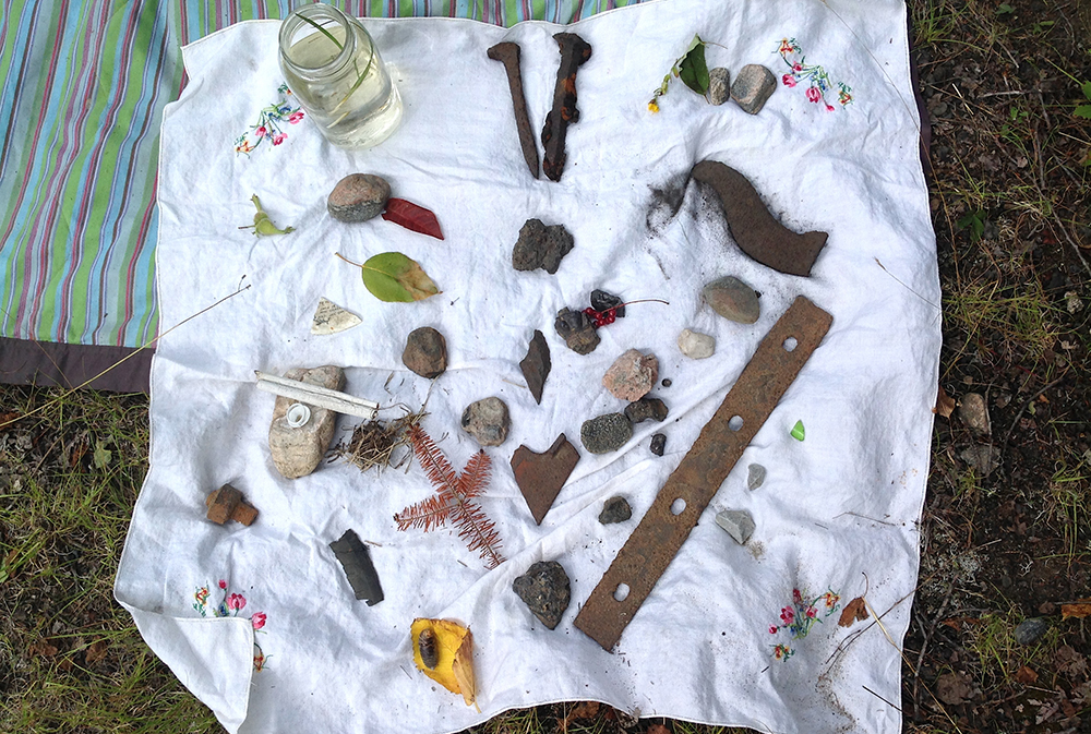 Rocks, leaves, and found objects used for sensory mapping