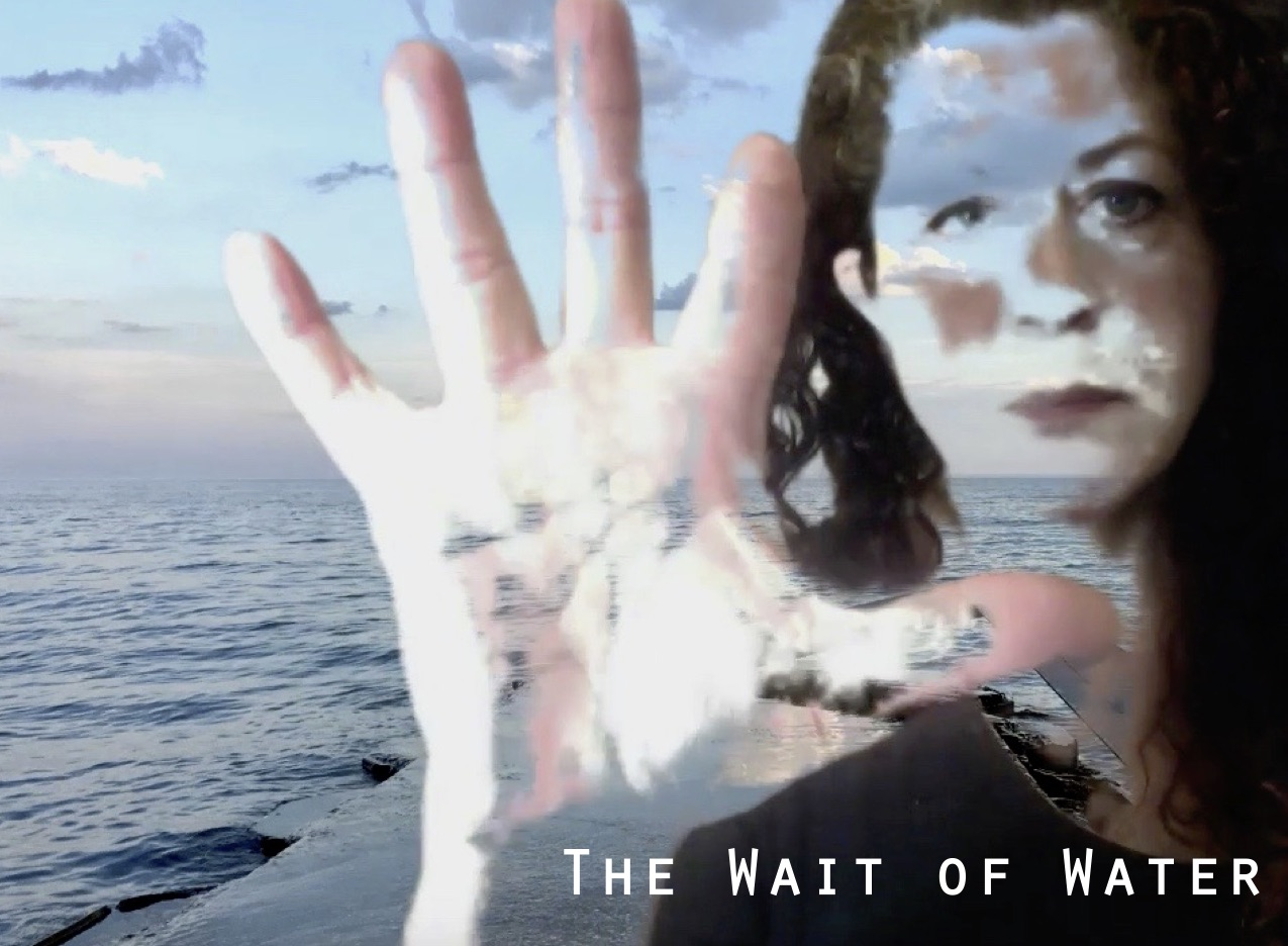 """Photograph of a big blue lake on a blue skied day. Overlaid on top is a semi transparent image of Anna. She has a neutral expression on her face and shows her palm to the camera in a """"stop"""" motion. Bottom right of the image contains white text reading """"THE WAIT OF WATER""""."""