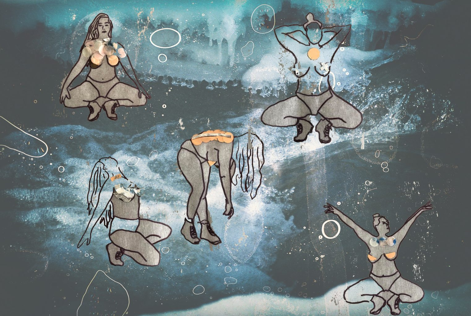 A digital collage by Aria Evans features simple outline drawings of a long haired person in movement, wearing only underwear and shoes. Each iteration of the person is posed differently (crouching, kneeling, bending) and has collaged materials on top of varying parts of the body. These bodies are set against a lightly faded background image of ice and rushing water, overlaid with illustrated speckles and bubbles.