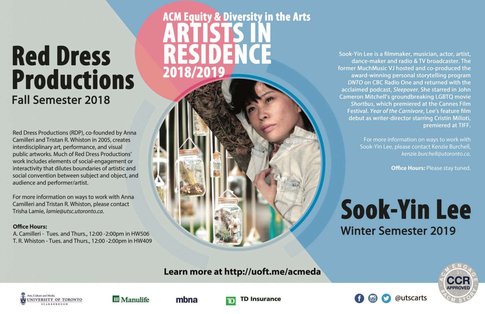 UTSC ACM Equity & Diversity in the Arts Artists in Residence 2018/2019 graphic poster