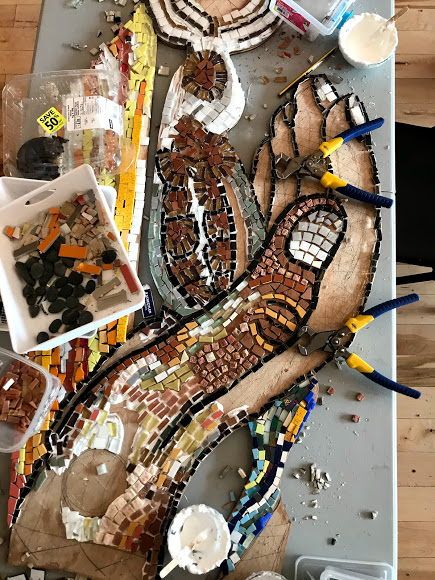 in-progress open studio photo of the Pembroke Youth Mural Project mosaic build. Photo by Megan Spencer